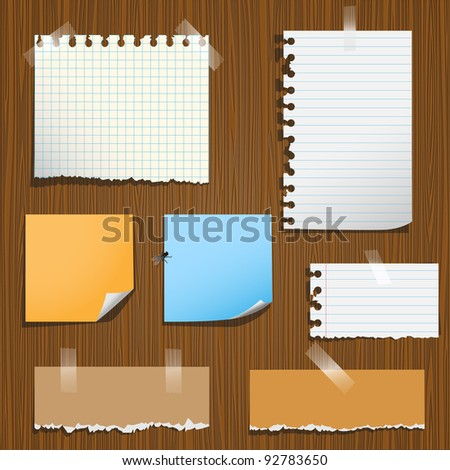 Notes paper on wooden background.Vector set,eps10 - stock vector