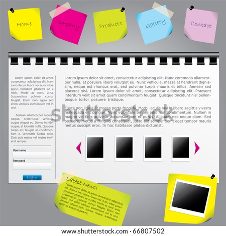 Notes website template - stock vector