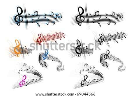 Notes with music elements as a musical background design. Jpeg version also available - stock vector