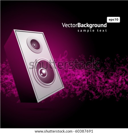 Notes with speaker music background - stock vector