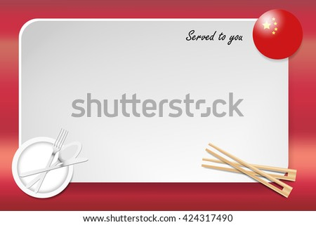 Notice board with inscription inscription Served by and with a Chinese round-flag in the corner. Plate with cutlery set and chopsticks are in the opposite corner. - stock vector