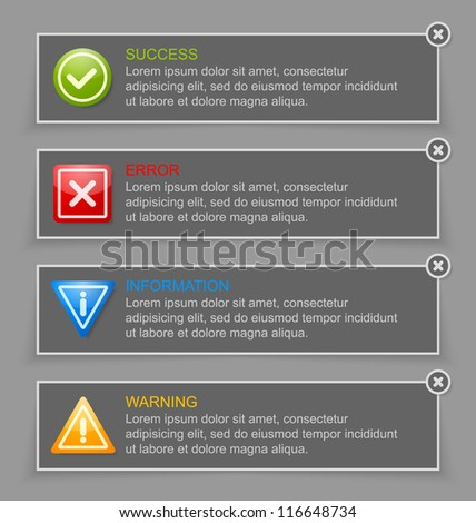 Notification banners suitable for custom web design and computer purposes - stock vector