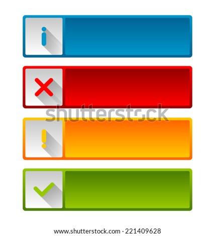 Notification icons and buttons with long shadow for web design and computer purposes - stock vector