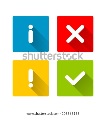 Notification icons with long shadow suitable for custom web design and computer purposes - stock vector