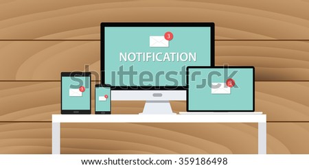 notification system mail email box multi platform computer notebook tab phone smarthone - stock vector
