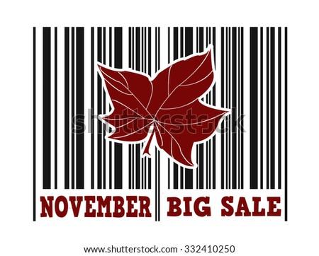 November big sale barcode with leaf inside on white background, vector illustration - stock vector