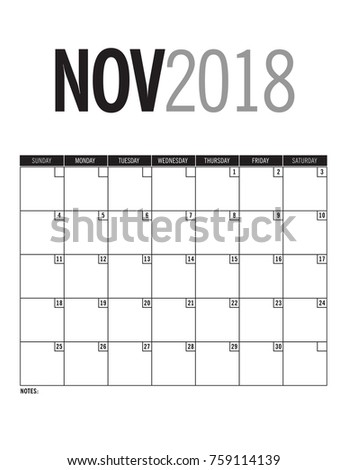 november 2018 calendars page