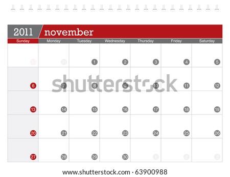 November 2011 Calendar - stock vector