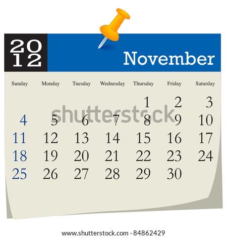 November 2012 Calendar - stock vector