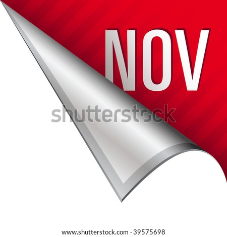 November calendar month icon on vector peeled corner tab suitable for use in print, on websites, or in advertising materials.