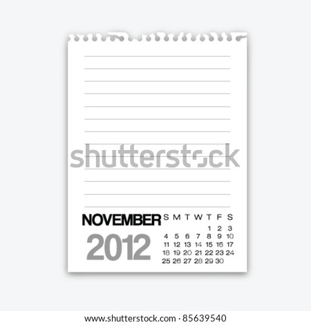 November calendar 2012 on note paper - stock vector
