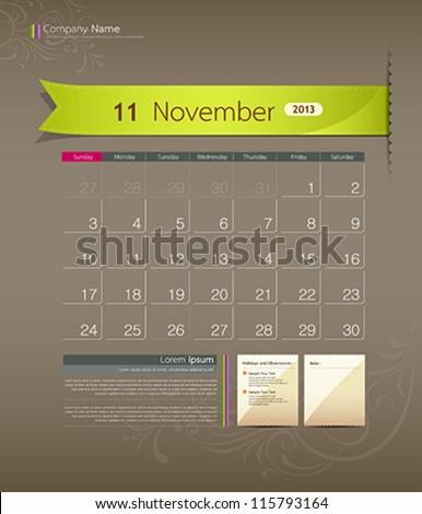 November 2013 calendar ribbon design, vector illustration - stock vector