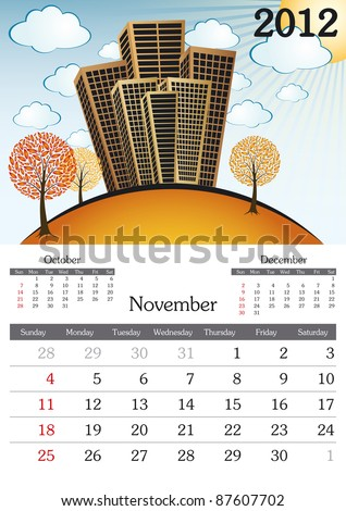 November. 2012 Calendar. Souvenir fonts used. A3 - stock vector
