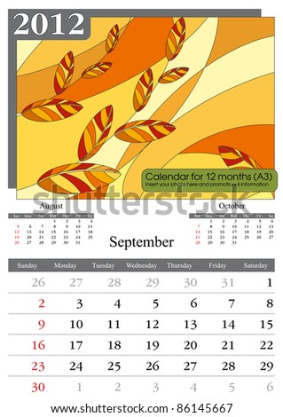 November. 2012 Calendar. Times New Roman and Garamond fonts used. A3 - stock vector