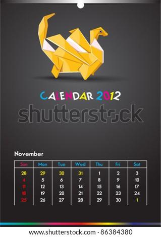 November 2012 Dragon Calendar Template - stock vector