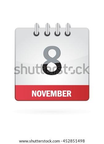 November Eight. Calendar Icon - stock vector