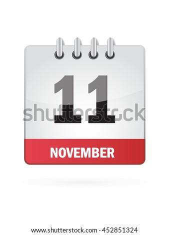 November Eleven. Calendar Icon - stock vector