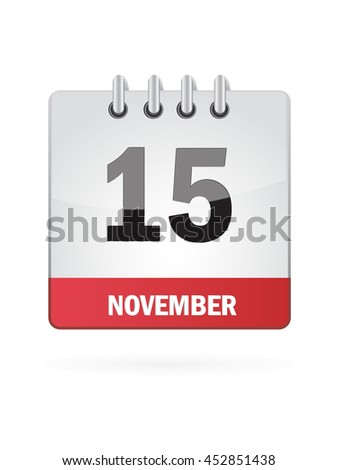 November Fifteen. Calendar Icon - stock vector