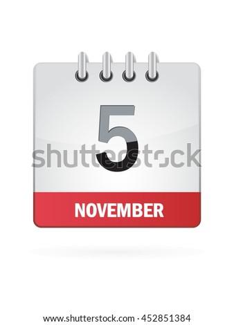 November Five. Calendar Icon - stock vector