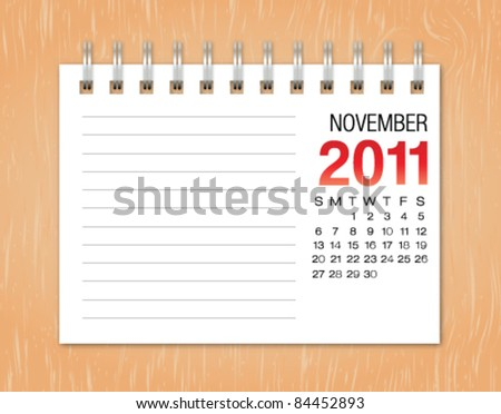 November month calendar 2011 on wood background - stock vector