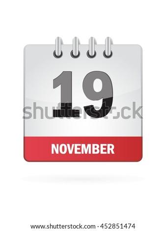 November Nineteen. Calendar Icon - stock vector