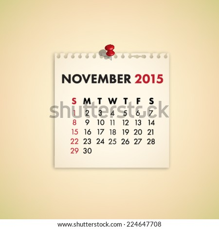 November 2015 Note Paper Calendar Vector - stock vector