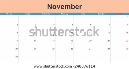 November 2015 planning calendar. Illustration - stock vector