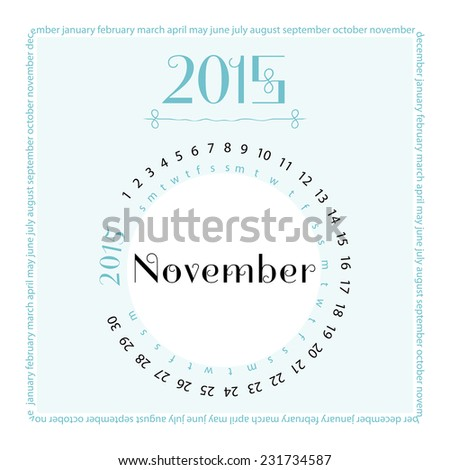 November. 2015 round calendar. Vector illustration.