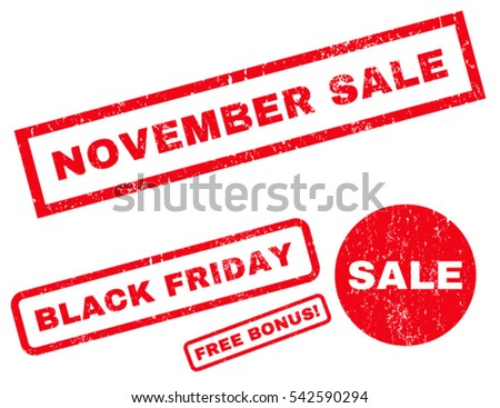 November Sale rubber seal stamp watermark with bonus banners for Black Friday sales. Vector red stickers. Caption inside rectangular shape with grunge design and scratched texture.