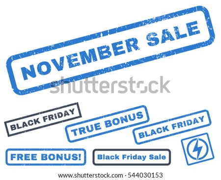 November Sale rubber seal stamp watermark with bonus banners for Black Friday sales. Vector smooth blue stickers. Caption inside rectangular shape with grunge design and dust texture.