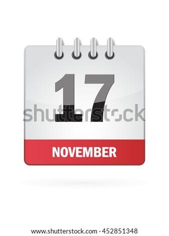 November Seventeen. Calendar Icon - stock vector