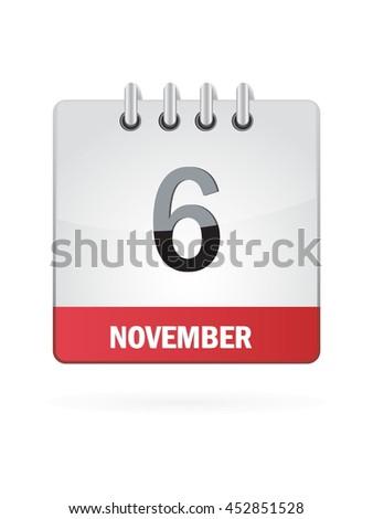 November Six. Calendar Icon - stock vector