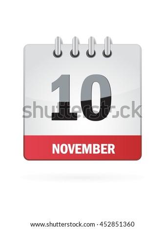 November Ten. Calendar Icon - stock vector