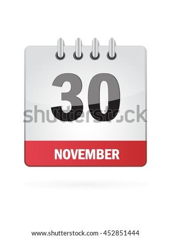 November Thirty. Calendar Icon - stock vector