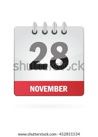 November Twenty Eight. Calendar Icon - stock vector