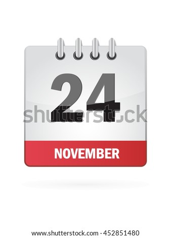 November Twenty Four. Calendar Icon
