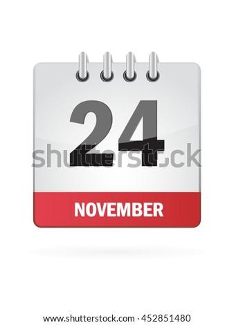 November Twenty Four. Calendar Icon - stock vector