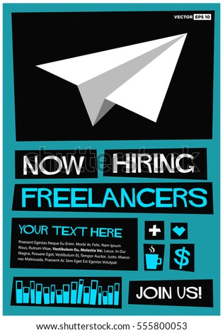 Now Hiring Freelancers. Join Us! (Flat Style Vector Illustration Job Poster  Design) Intended For Now Hiring Flyer Template