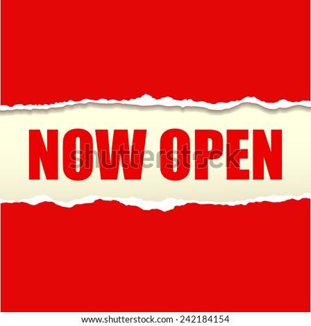 Now open banner vector - stock vector