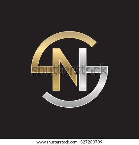 Ns Sn Letters Golden Silver Circle Stock Vector Royalty Free