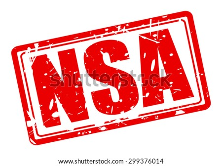 NSA red stamp text on white - stock vector