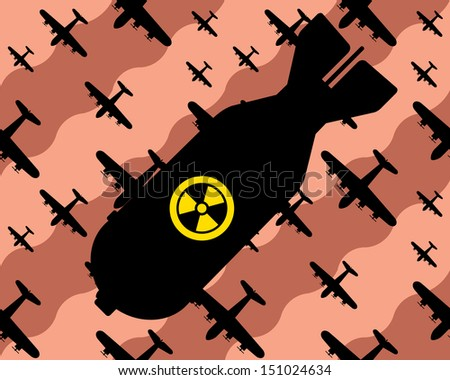 nuclear bomb falls from sky, bombers in background  - stock vector