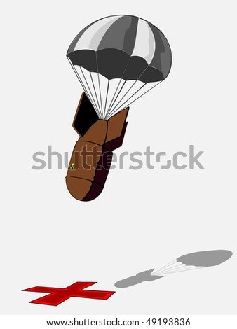 Nuclear bomb with a striped parachute - stock vector