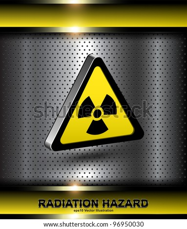 Nuclear danger warning background with 3d radiation hazard icon.