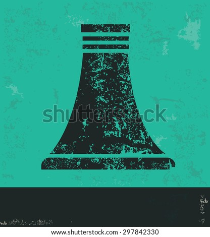 Nuclear design on green background,grunge vector - stock vector