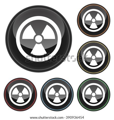 Nuclear Energy Symbol Icon Glossy Button Icon Set in With Various Color Highlights - stock vector