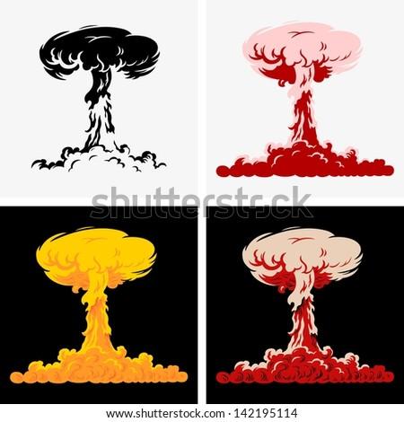 Nuclear explosion - stock vector