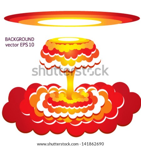 nuclear explosion, armageddon, atomic bomb, world war, apocalypse, isolated on white background vector - stock vector