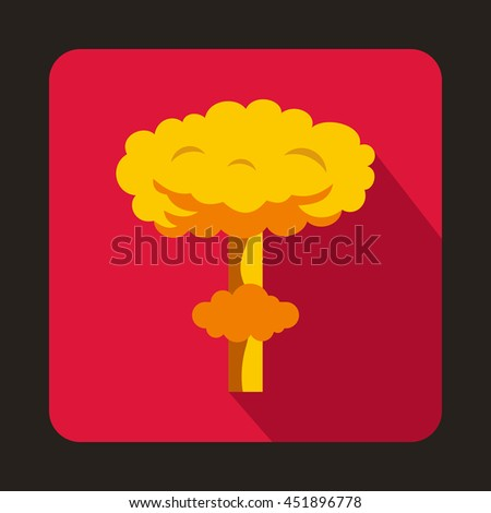 Nuclear explosion icon in flat style on a pink background - stock vector