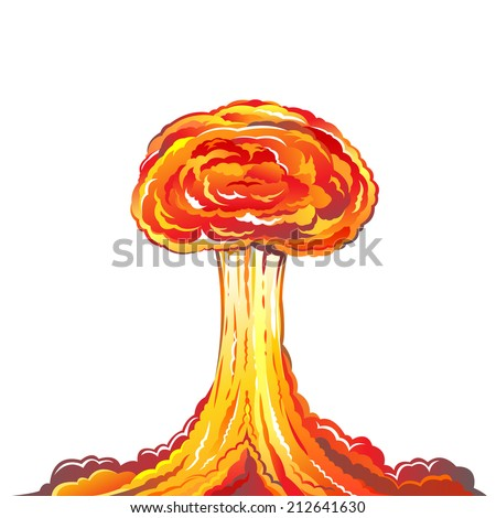 Nuclear explosion illustration isolated on white background - stock vector